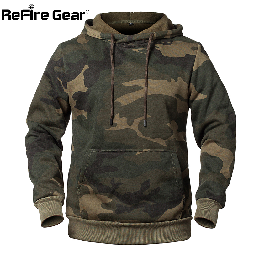 US $21.38 35% OFF|ReFire Gear Fashion Pullover Camouflage Hoodies Men Military Style Fleece Hooded Coat Casual Camo Hoody Sweatshirt EURO US Size in