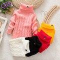 Nuevos Niños Otoño Invierno Suéteres Da Vuelta-abajo Patrón de Dibujos Animados Minnie Muchachas de Los Bebés de Los Niños de cuello alto suéter