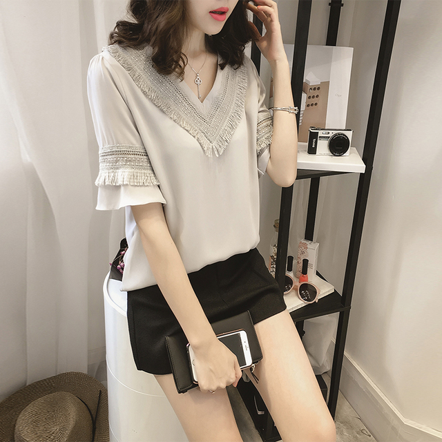 new 2018 summer women blouse shirt plus size causal women's clothing shirts v-neck collar solid women tops blouses 0216 40