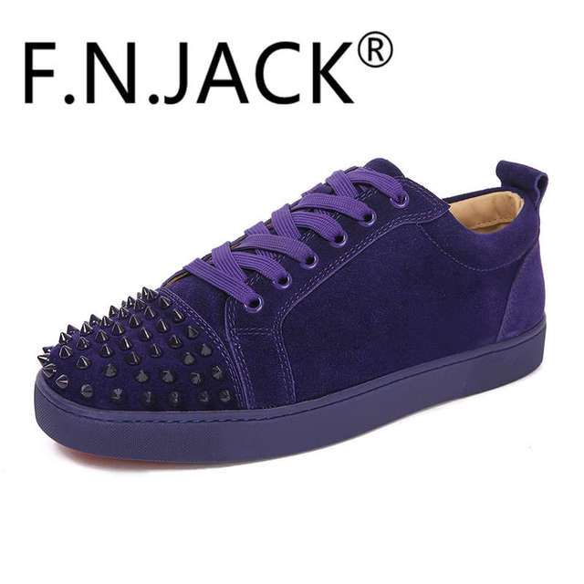 Men s FNJACK Suede Leather Louis Junior Studed Sneakers Fashion Brand Shoes 70406c457