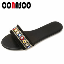 CONASCO Retro Women Summer Casual Shoes Woman Flats Heels Party Shoes Ladies Buckles Vintage Flats Shoes(China)