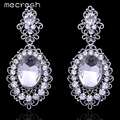 Mecresh Vintage Teardrop Crystal Big Hanging Earrings for Bridal Rhinestone Silver Plated Brincos Prom Wedding Jewelry EH244