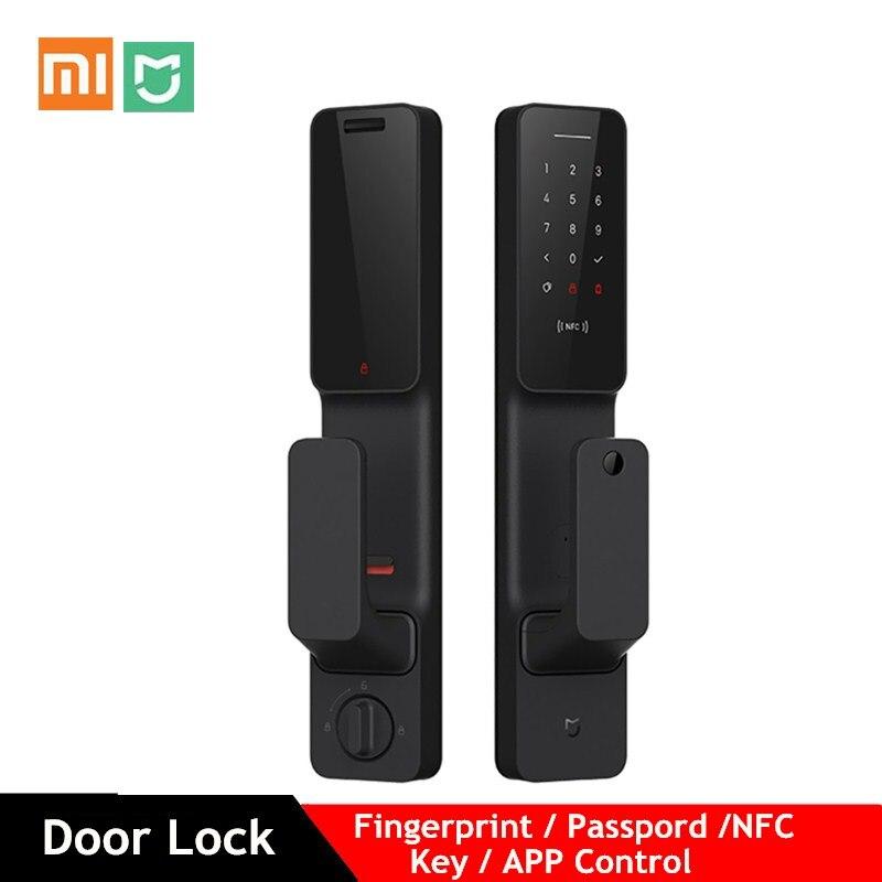 Xiaomi mijia push-pull fechadura da porta inteligente com sensor de impressão digital passpord nfc bluetooth desbloquear app controle ligação inteligente