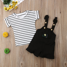 2PCS Infant Toddler Kid Baby Girl Short Sleeve Striped T-shirt Tops Overall Strap Short Pants Outfits Clothes Set 2019 цена и фото