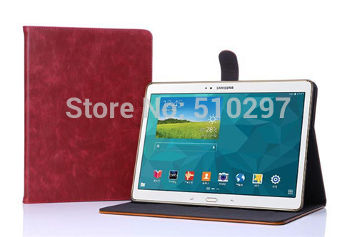 DS Crazy Horse pattern PU Leather Style  For Samsung Galaxy Tab S 10.5 inch T800 T805 T805C Stand Flip Cover Protective Case