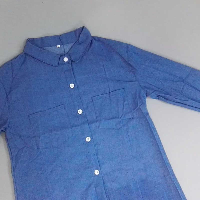 Весенне-летняя джинсовая рубашка повседневное женское платье с длинным рукавом сексуальные мини-карманы ковбойские платья элегантные свободные джинсы платья Feminino