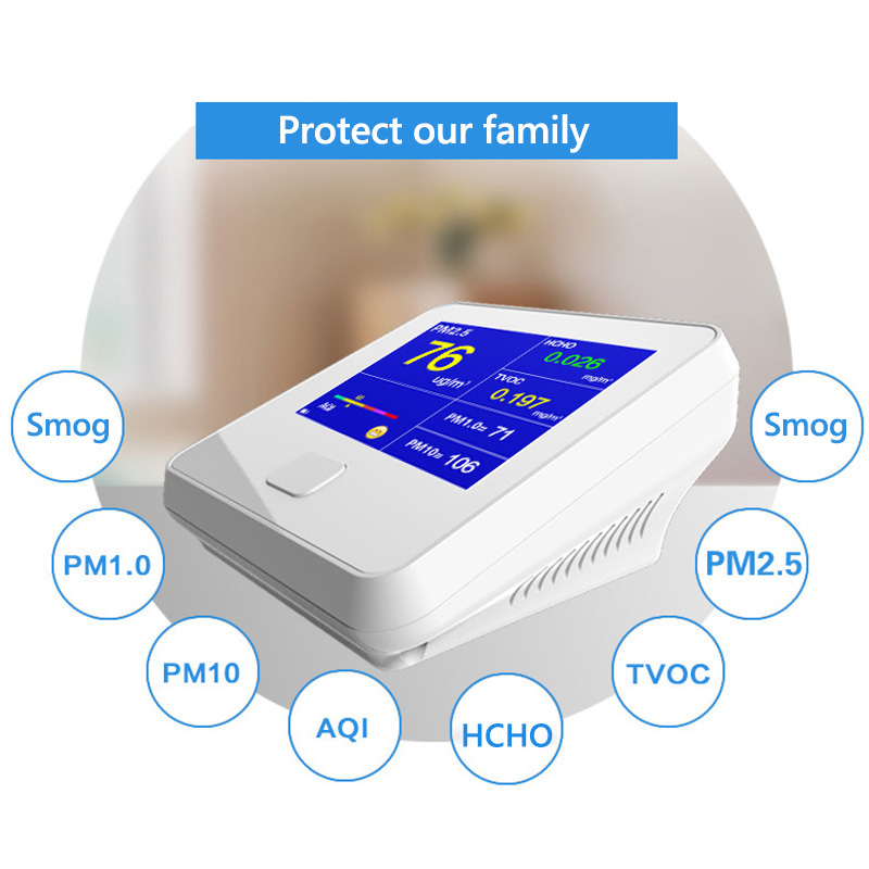 все цены на HCHO Detector PM1.0 PM2.5 PM10 TVOC Temperature Humidity Meter PM 2.5 Gas Analyzer Home Protection AQI Air Quality Monitor онлайн
