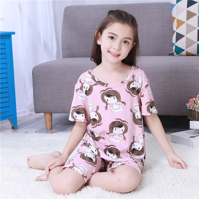 Children's Day Gift Summer 2018 Children   Sets   Girls Kids Clothing   Sets   Cotton Suit Sleepwear Short Sleeve Cartoon   Pajamas     Set