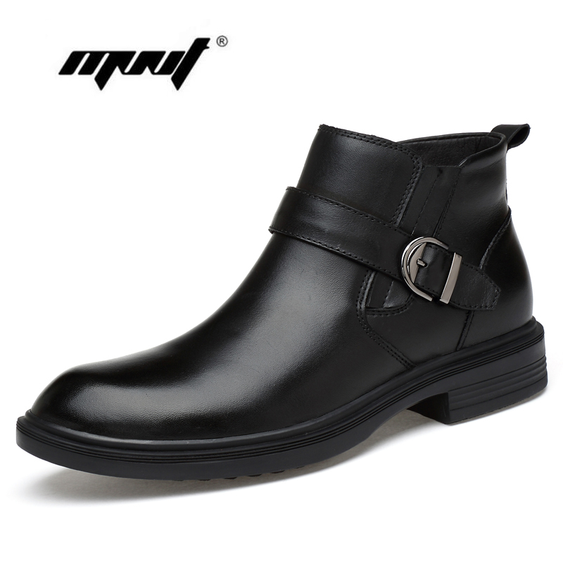 Мужские ботинки из кожи с натуральным лицевым покрытием, Теплая мужская зимняя обувь на меху, большие размеры, зимние ботинки ручной работы ...
