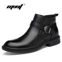 Tam Tahıl deri Erkekler Boots Sıcak Kürk Artı Boyutu Erkekler Kış Ayakkabı El Yapımı Rus Tarzı Kar Botları