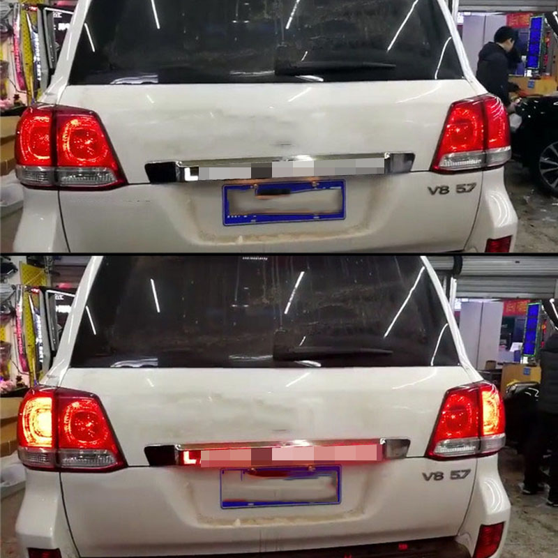 LUHUEZU 2008 2015 Rear Trunk Lid Cover With Led Light Styling Cover For Land Cruiser 200