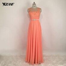Schöne Lange Peach Brautkleider Spitze Chiffon-Falten Reißverschluss V Zurück Bodenlangen Abendkleid Kleid