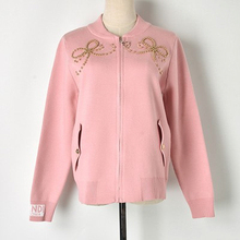2018 Autumn And Winter New Embroidered Bow Beaded Knit Zipper Jacket Shirt Ladies Slim Fashion Comfortable