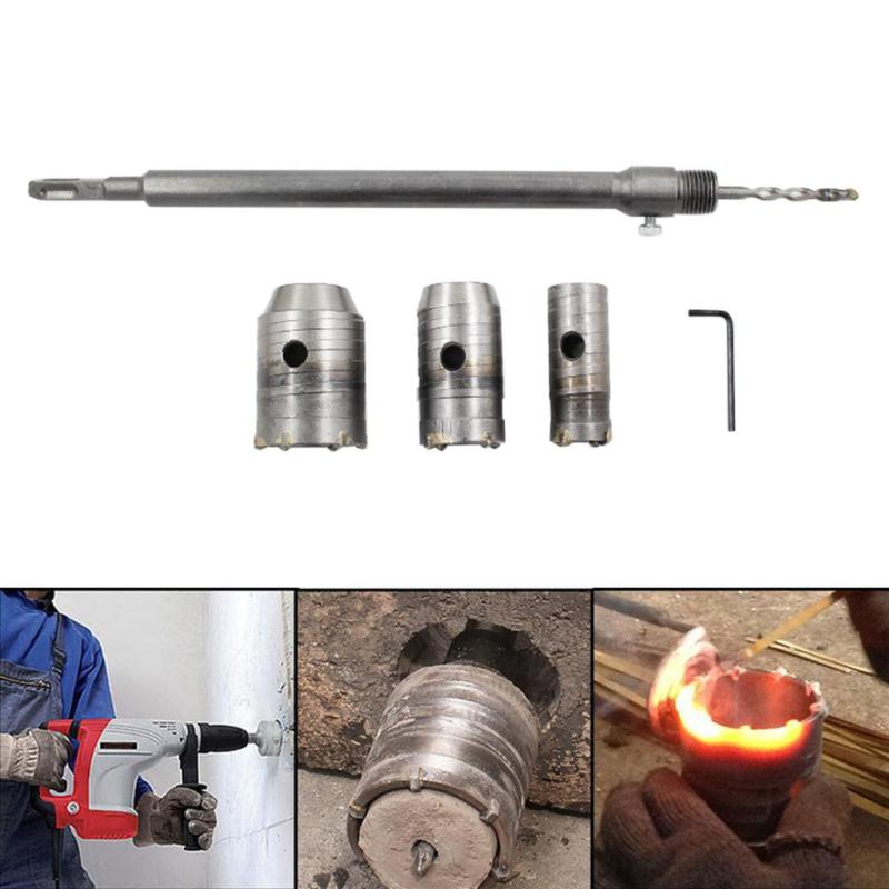 цена на Wall Drill Bit Hole Saw Set Cutter Tool Kit 350mm Long Core For Wall Masonry Brick Stone Coment + Hole opener 30mm 40mm 50mm