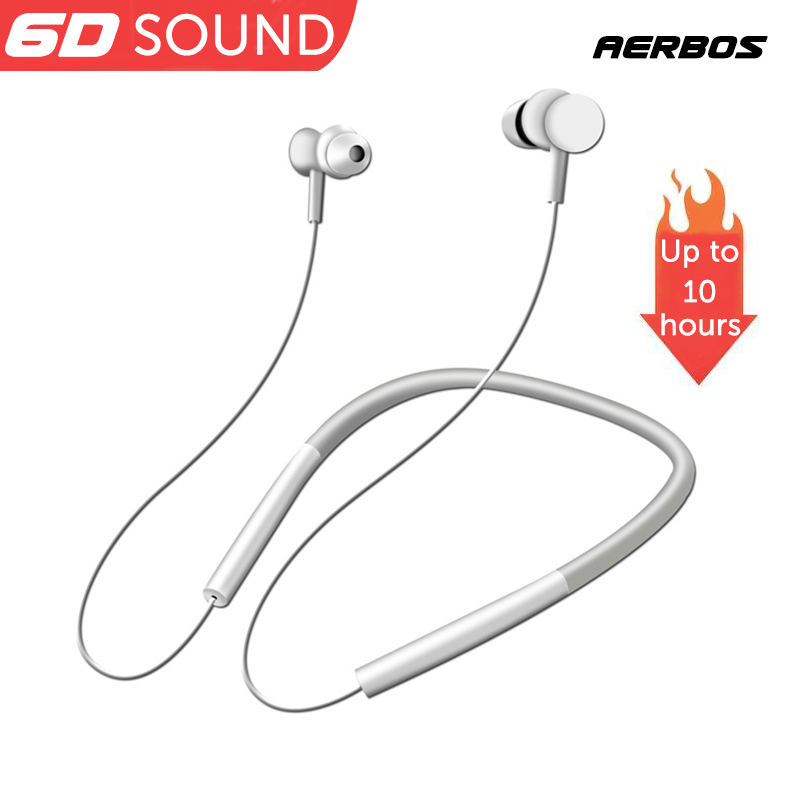 AERBOS Sport Bluetooth Headphone Wireless Neckband Headset With Mic 10 Hours Play Time For Running Noise Cancelling Earphone