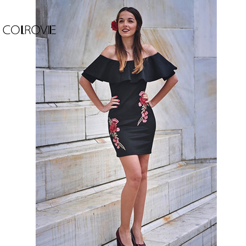 c719a45272b2 COLROVIE Dress Women Black Sexy Off Shoulder Embroidery Party Dresses Rose  Applique Ruffle Elegant Bodycon Mini Dress-in Dresses from Women s Clothing  on ...
