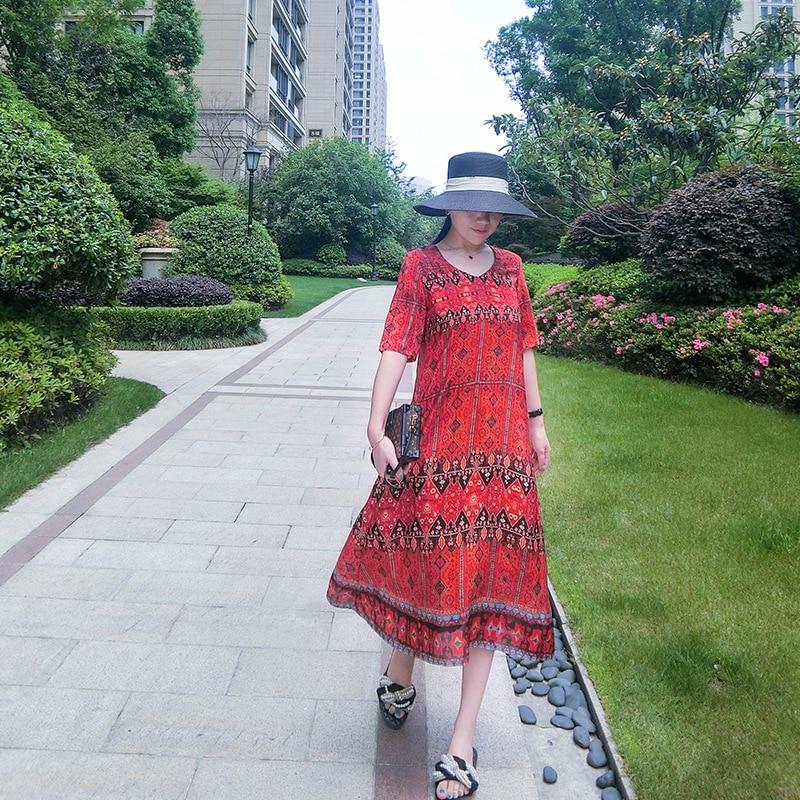 Femmes Élégant Réel 2019 L'extérieur line A D'été Robe Haut Soie Floral De Robes À 100 Luxe En Impression Nouvelle Gamme wxaUAxP