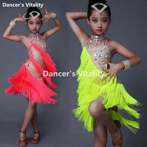 Image 1 - New Children Latin Tassel Dancing Skirt Childs Rumba Samba ChaCha Latin Competition Dance Dresses Latin Costumes For Girls