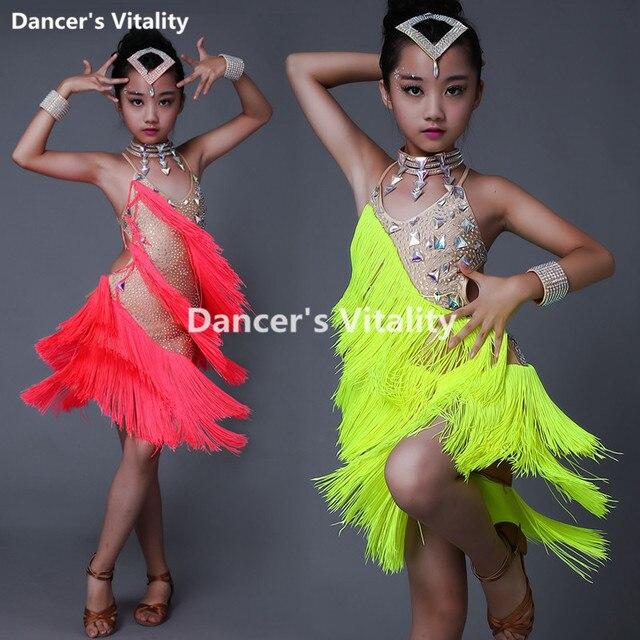 New Children Latin Tassel Dancing Skirt Childs Rumba Samba ChaCha Latin Competition Dance Dresses Latin Costumes For Girls