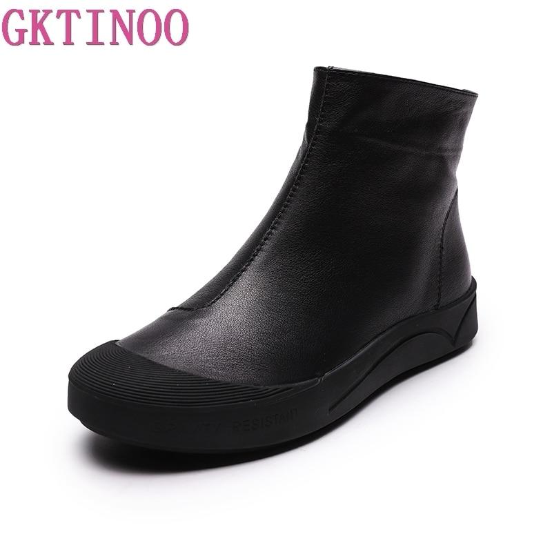 Rond Main Bottines Lining Mode En black Bout Cuir Femmes Gktinoo Beige Leather Vintage Avec Véritable Bottes With Pour Fur Chaussures Fourrure Plat 571xn4q