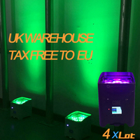 4X LOT Rasha Hex Core IRC APP Mobile 4*18W 6in1 RGABW UV Battery Operated Wireless LED UPLIGHT Fredoom LED Par Light 6/10CH