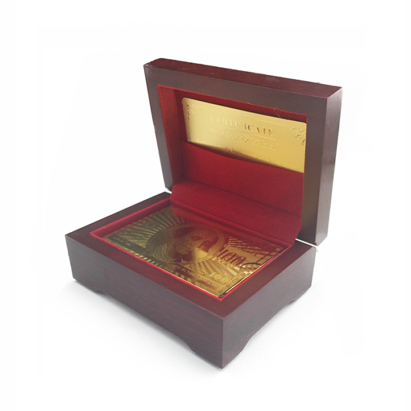 Gold Foil Playing Cards Plastic Poker With Good Quality Wooden Box and Certificate For Entertaiment or Gambling Wholesale