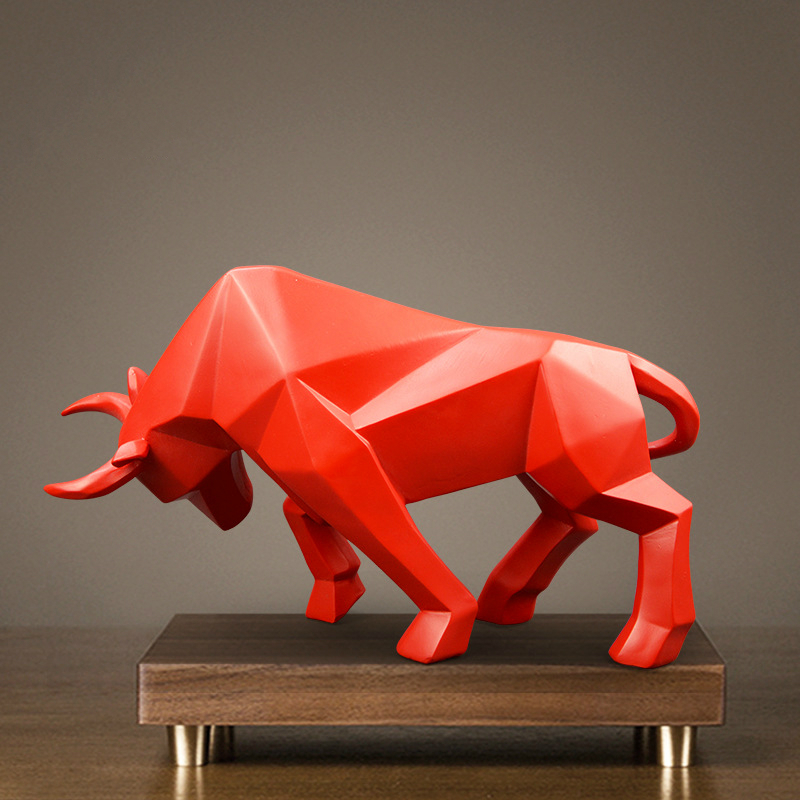 Geometric Cattle Statue OX Bull Sculpture Ornament Abstract Animal Figurines Room Desk Decor Home Decoration Accessories Morden Скульптура