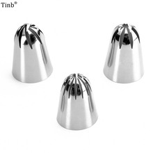 3pcs Big Russian Tulip Icing Piping Nozzles Stainless Steel Flower Cream Pastry Tips Nozzles Cake Cupcake Decorating Tools Set sophronia 90pcs set pastry nozzles and korean style stainless steel pastry piping nozzles tips russian tulip set cs096