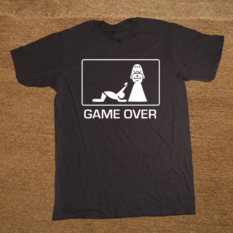Brand Clothing Game Over wedding man wife gamer geek Funny T Shirt Tshirt Men Short Sleeve T-shirt Top Tees Camiseta