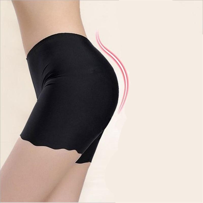 2018 Hot Selling Female Sexy Women High Waist Ice Silk Briefs Seamless Elastic Pants Short Leggings White/ Black/ Skin