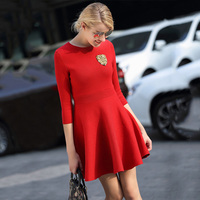 2016 OUFANCI New Autumn Collection Women Winter Fitted Dress Suit Women Dresses In European Style Red