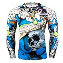 2018 Fashion Long Sleeves Men s T shirts 3D Prints Tight Skin Compression Shirts Men Rashguard