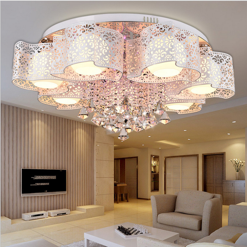 Modern brief ceiling light romantic lighting lamps led restaurant lights circle living room lights crystal lamp lamps fashion pendant light brief modern iron american living room lights restaurant lamp personalized lighting rustic