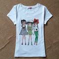 2016 Marca de Moda T Shirt Mujeres Rose Impreso Camiseta Impresa mujeres Tops Camiseta Femme Nuevas Llegadas de La Venta Caliente Ocasional Sakura