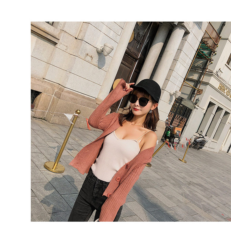 MuMuJia Women 39 s V neck Knitted Short Cardigan 2018 Autumn Winter Long Sleeve Woman Sweater Cardigan Ladies Vintage Knitwear Coat in Cardigans from Women 39 s Clothing