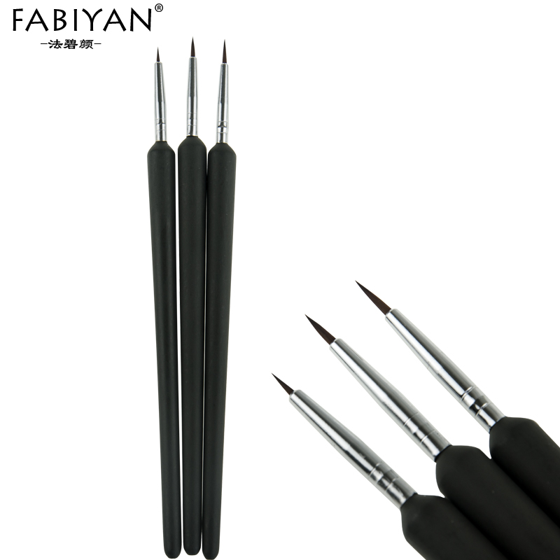 3pcs Tiny Tips Painting Liner Drawing Design Flower Pen Brush Wood Acrylic Gel UV Polish DIY Salon Nail Art Manicure Tools Set