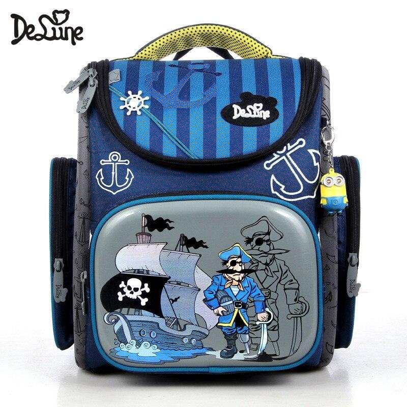 Delune brand Children Orthopedic school bag for boys girl Waterproof Fold Primary school Backpack EVA Mochila