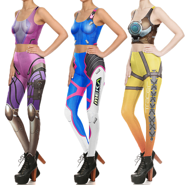 dc3c8d5a9f489c Cosplay Widowmaker Sports Running Suits Sleeveless Vest Skinny Leggings  D.Va Tracer Costume Yoga Set Women Crop Top Fitness Pant