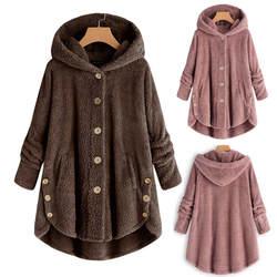 2018 зимнее пальто женское пальто с капюшоном модное женское однотонное пальто на пуговицах пушистый хвост топы с капюшоном пуловер