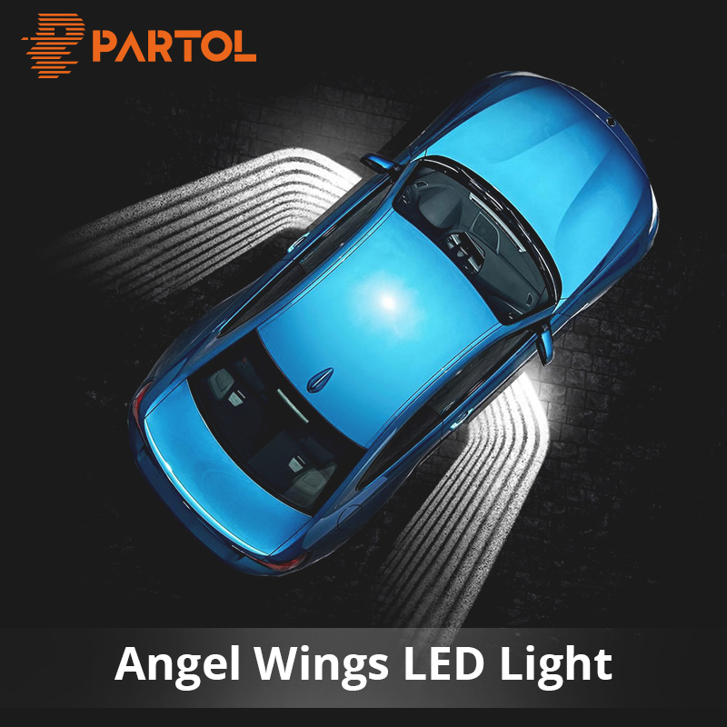 Partol 2Pcs Angel Wings Car Welcome Light Shadow Light Projector Car LED Door Warning Light Lamp for Audi BMW Toyota Volkswagen sunset horseman gobo door led projector light welcome lamp cree q5 ultra bright puddle light for lincoln corvette vw dodge 1527