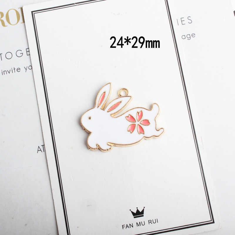10 шт./пакет мультфильм падение масла Кролик кошка цветок кулон животных сплава эмалевые Плавающие Подвески DIY ювелирные аксессуары браслет YZ391