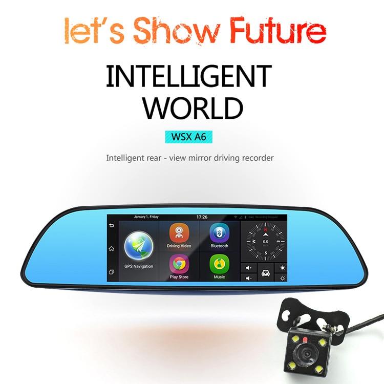 7 3G Car Camera DVR GPS Bluetooth Dual Lens Rearview Mirror Video Recorder FHD 1080P Automobile