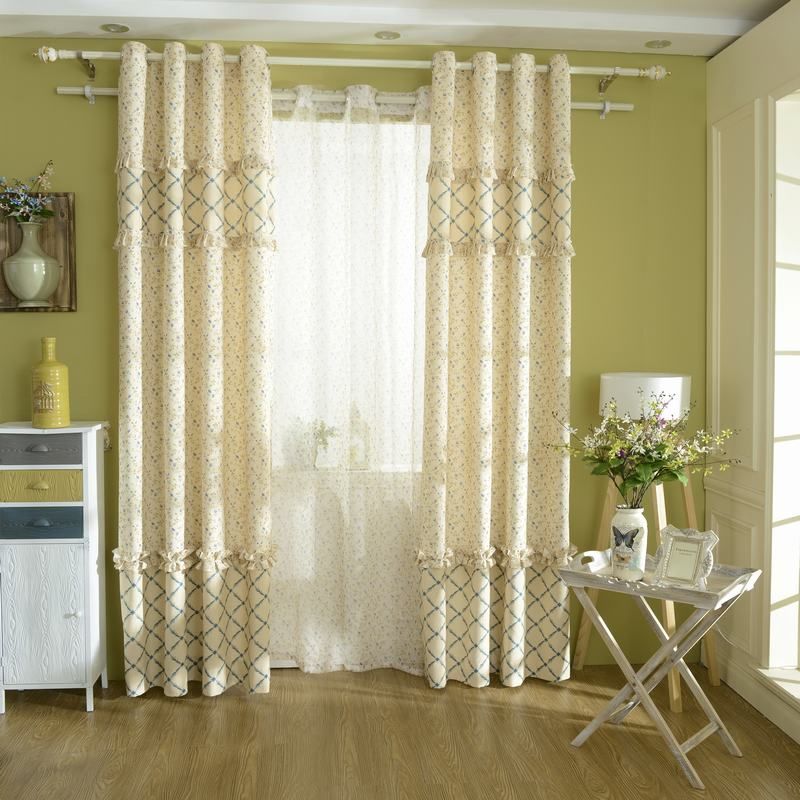 Korean Type Fresh Yellow Blue Floral Printing Window Blackout Curtain For Living Room Bedroom