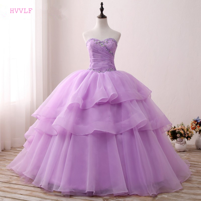 Lilac Puffy 2019 Cheap Quinceanera Dresses Ball Gown Sweetheart Tulle Beaded Crystals Tiered Sweet 16 Dresses