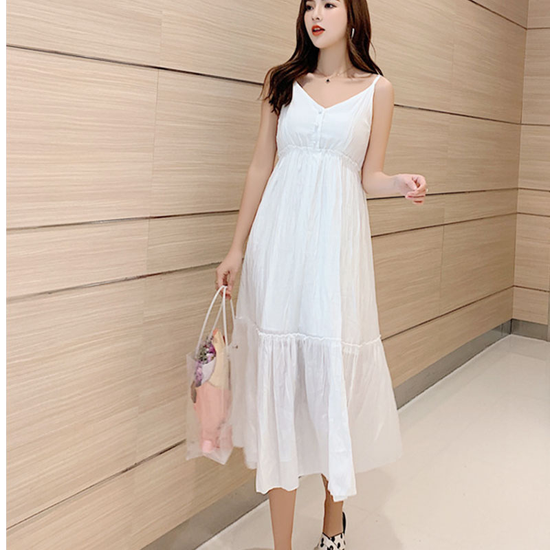 Dress OLN Summer New Sweet Super Fairy Wind Pure Color Pleated Chiffon Hanging Bandwidth Pine Korean Dress For Women W