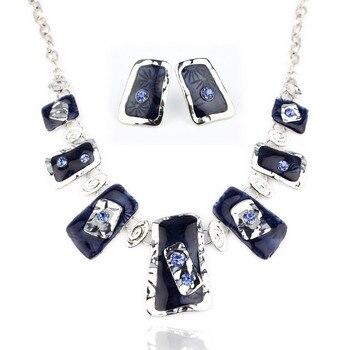 Collar cuadrado de alta calidad collares y pendientes de Metal de aleación conjunto de joyería de moda al por mayor NS6812