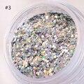 1 Caja de 15g Azul Brillante Blanco Plateado Rosa Paillette Lentejuelas de Uñas Glitter Powder Decoración Del Arte Del Clavo