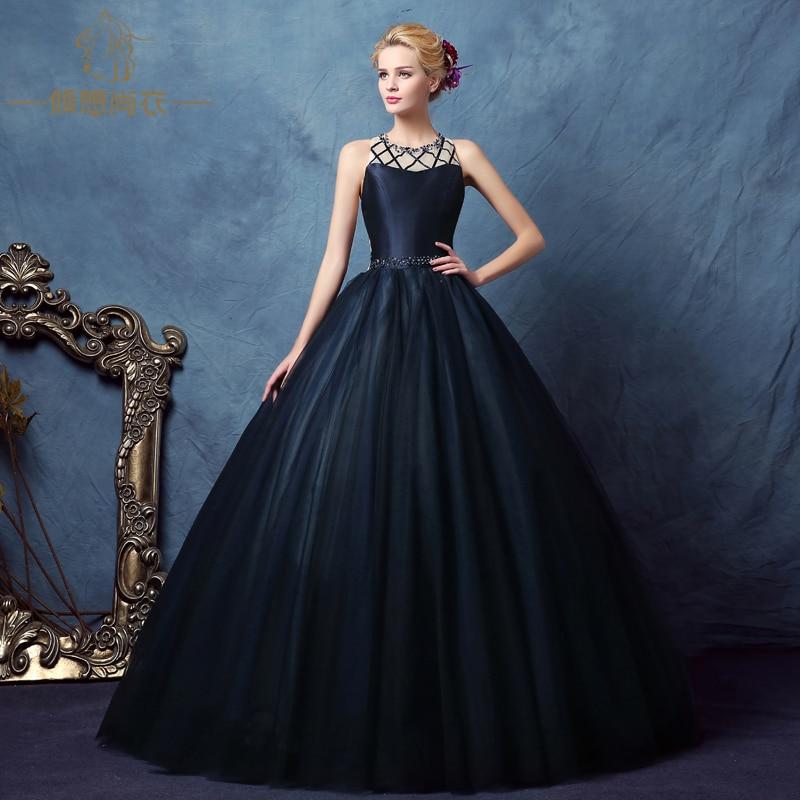 100%real dark blue ribbon stripe bead court medieval dress ...