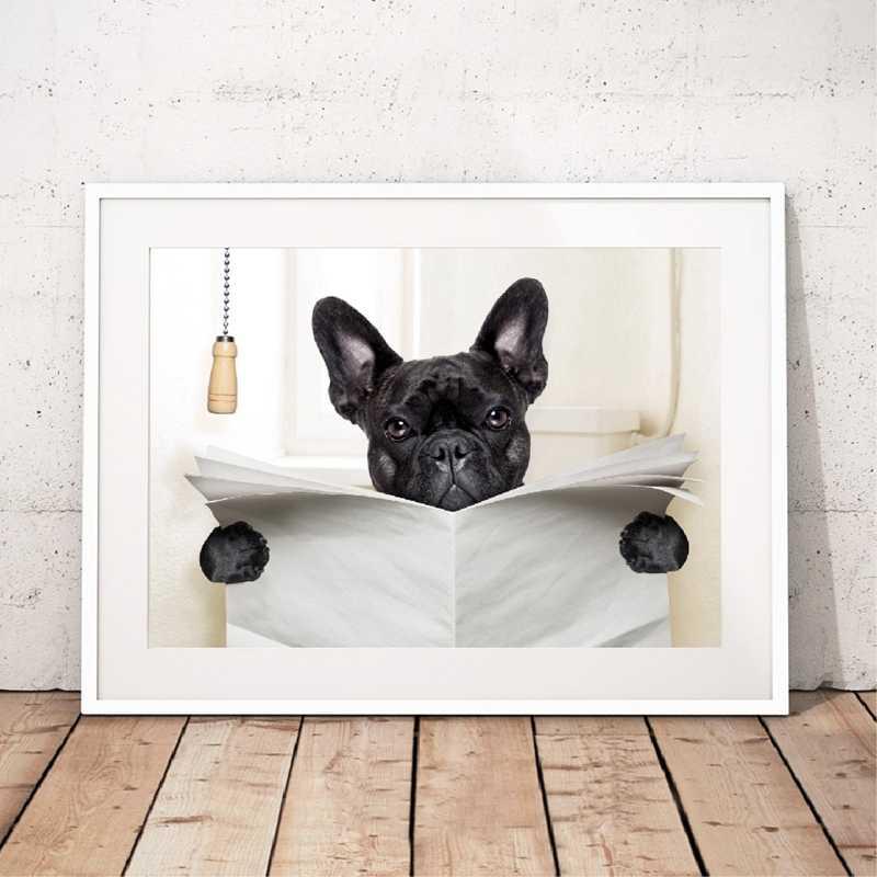 الكلب صحيفة القراءة المرحاض جدار الفن قماش المشارك يطبع مضحك الكلب اللوحة جدار صورة ديكور المنزل الحمام الكلاب عاشق هدية