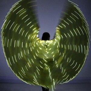 Image 2 - 2018 المرأة مصباح ليد إيزيس أجنحة البطن أزياء رقص 360 المصرية المرحلة أداء جديد وصول DJ LED أجنحة مع العصي